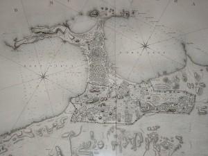Aleksandria pod koniec XVIII wieku. Plansza z Description de l'Egypte. Źródło: http://www.alexanderstomb.com/main/imageslibrary/maps/DescriptionEgypteEM84.jpg